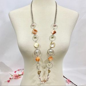 Shell and faux pearl long necklace